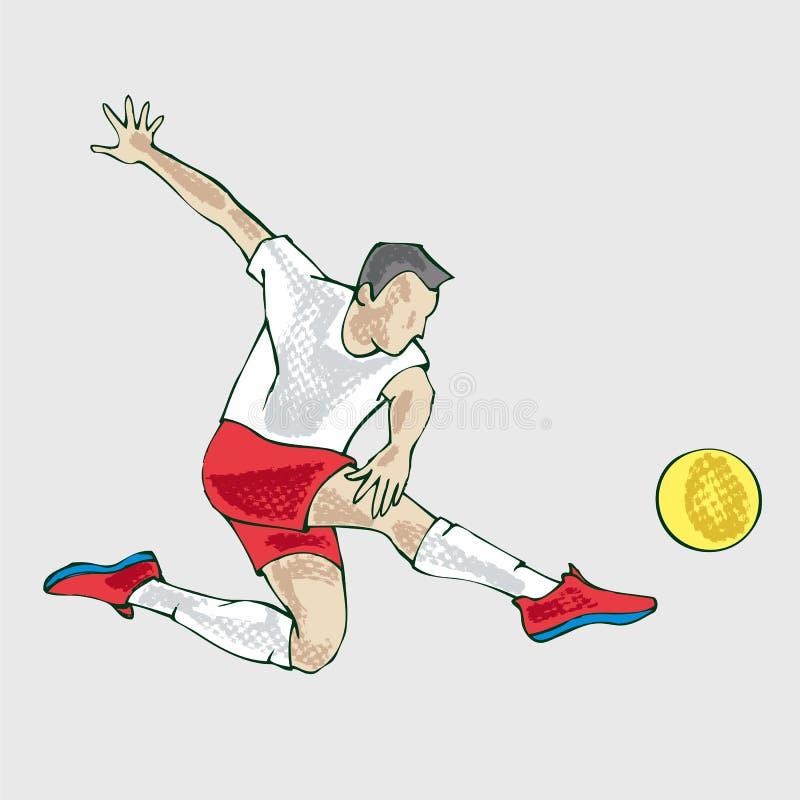 Gracz piłki nożnej atleta, ręka rysunek ilustracja wektor