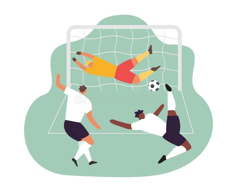 Gracz Piłki Nożnej bramkarza akcja Futbolowy Wektorowy sporta set ilustracja wektor