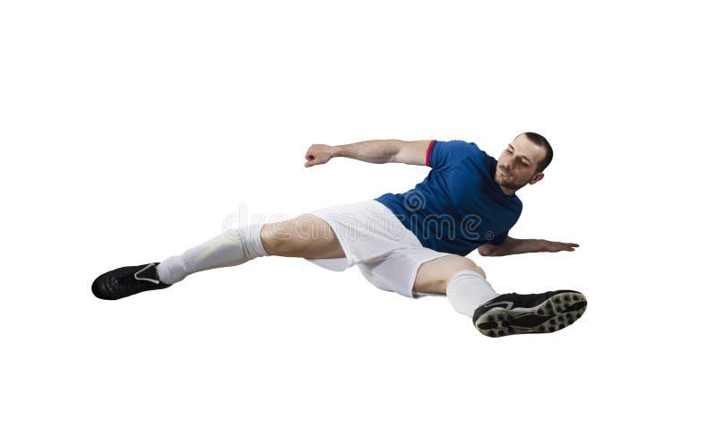 Gracz piłki nożnej gotowy bawić się pojedynczy bia?e t?o fotografia stock
