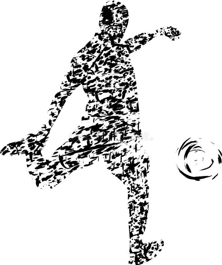 Gracz piłki nożnej, grungy wektorowa sztuka ilustracja wektor