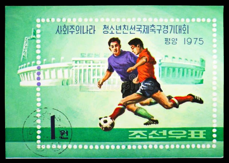 Gracz piłki nożnej, Młodzieżowy przyjaźni piłki nożnej turnieju seria około 1975, zdjęcie royalty free