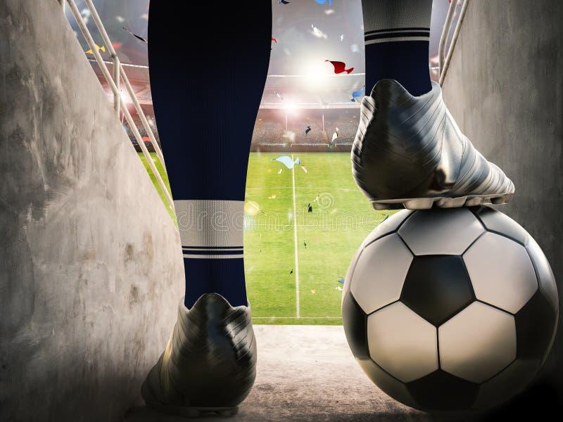 Gracz piłki nożnej pozycja z piłki nożnej piłką royalty ilustracja
