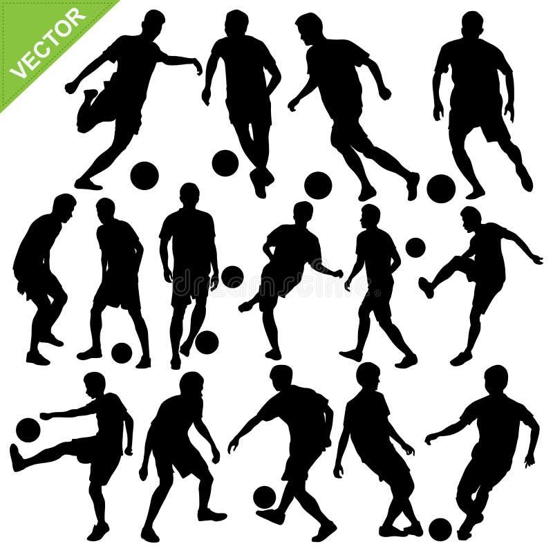 Gracz piłki nożnej sylwetki wektorowe royalty ilustracja