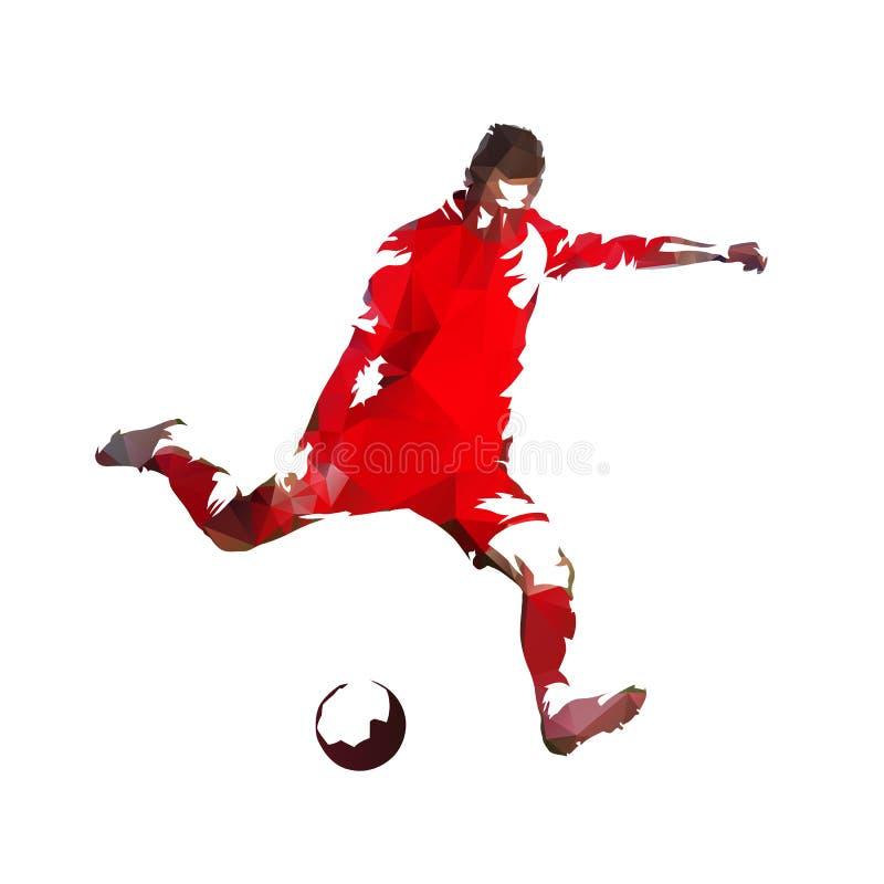 Gracz piłki nożnej w czerwonej dżersejowej kopanie piłce, kolorowy poligonalny vec ilustracja wektor