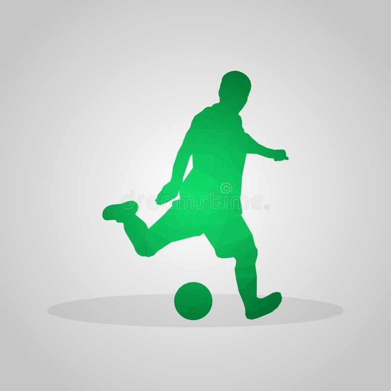 Gracz piłki nożnej w poligonalnym stylu na szarym tle ilustracja wektor