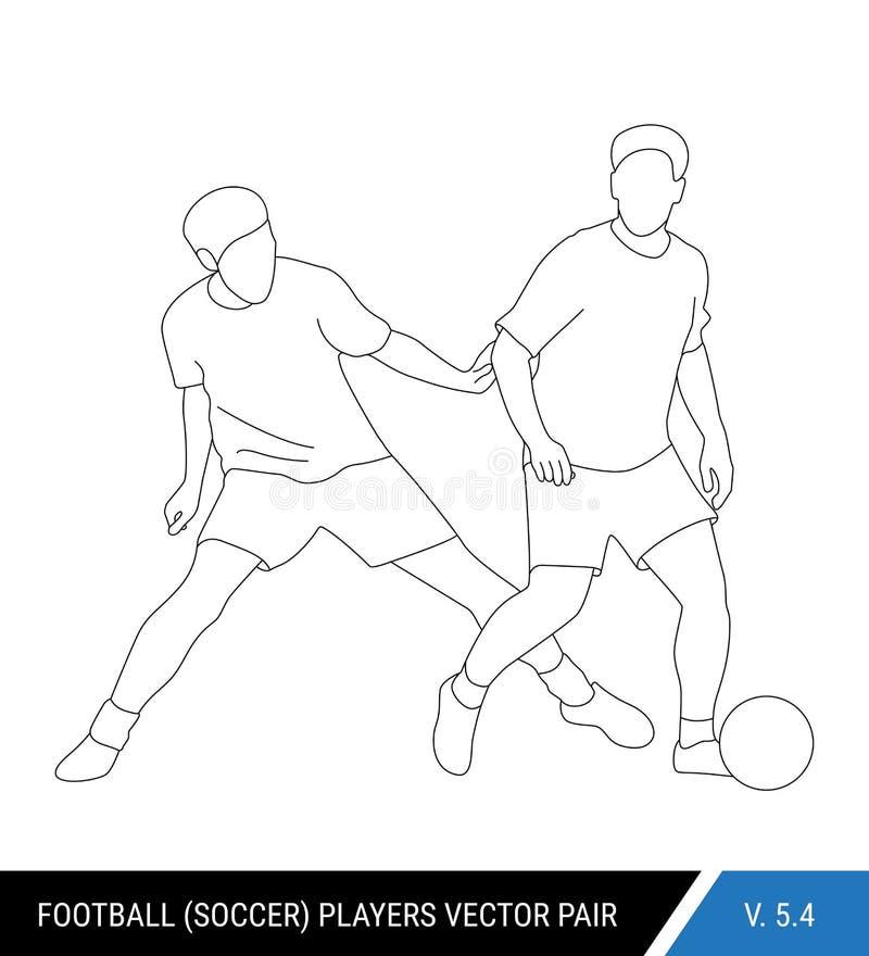 Gracz piłki nożnej walczy dla piłki Kontur sylwetki, wektorowa ilustracja Gracze futbolu w akci ilustracja wektor