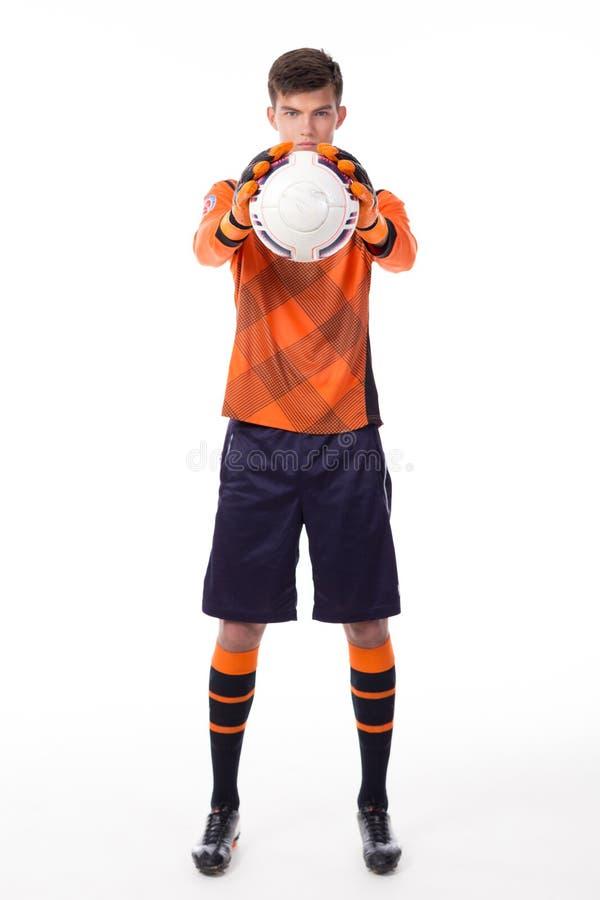 Gracz piłki nożnej z piłką zdjęcie royalty free