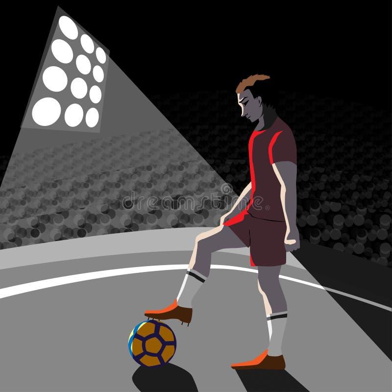 Gracz piłki nożnej z piłką na polu, wektorowa ilustracja ilustracji