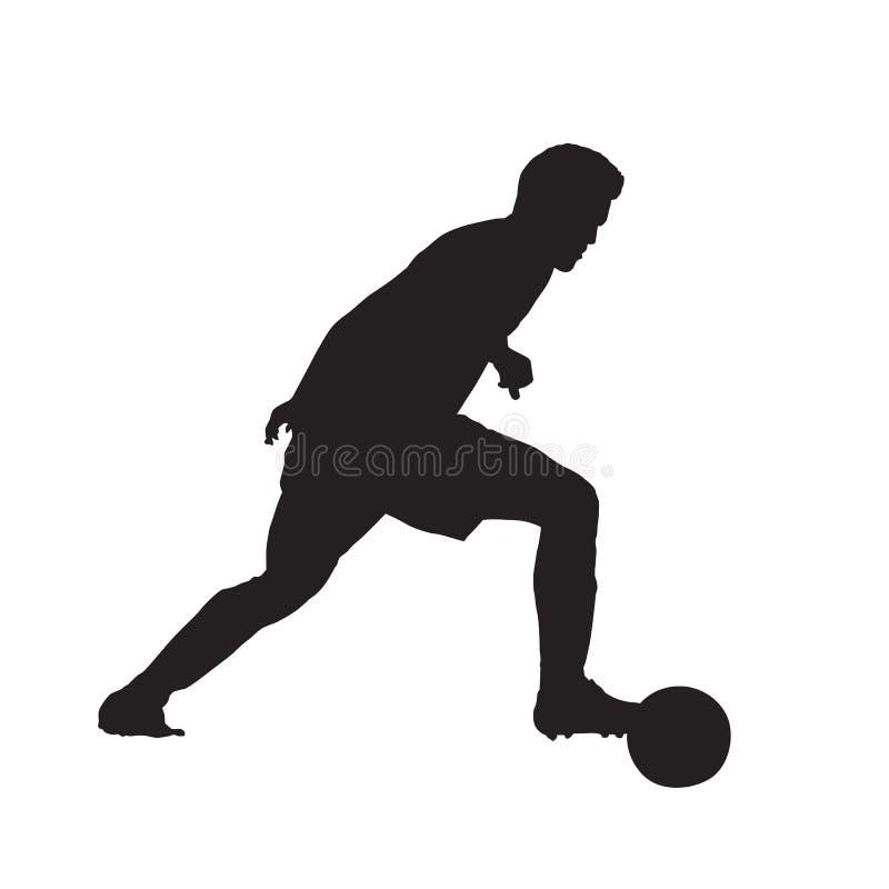 Gracz piłki nożnej z piłką, odosobniona wektorowa sylwetka ilustracja wektor