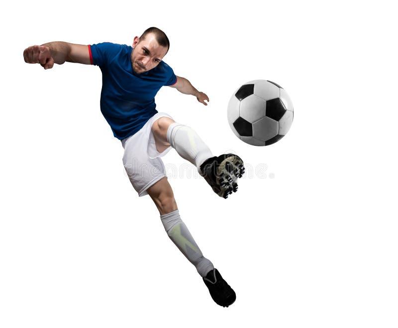Gracz pi?ki no?nej z soccerball przygotowywaj?cym bawi? si? pojedynczy bia?e t?o obraz stock