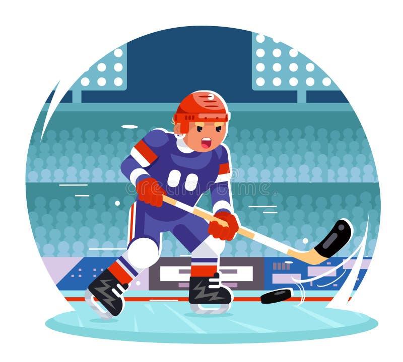 Gracz w hokeja charakteru stadium działającego tła projekta wektoru płaska ilustracja ilustracja wektor