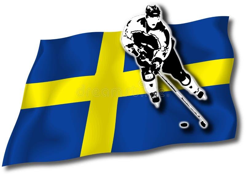 gracz w hokeja chorągwiani szwedzi ilustracji