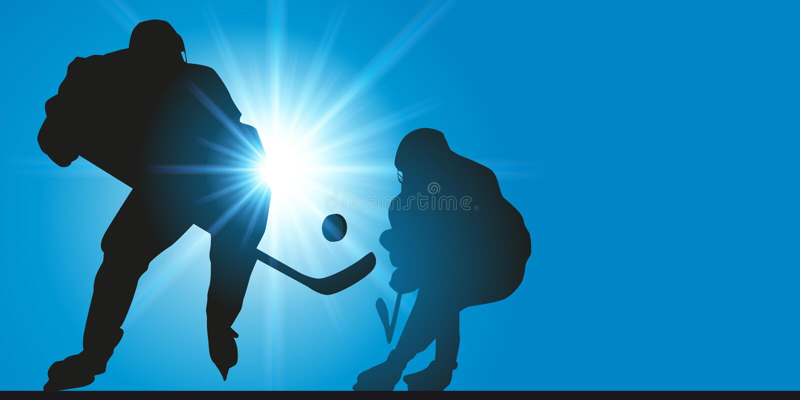Gracz w hokeja drybluje przeciwnika podczas gry ilustracji
