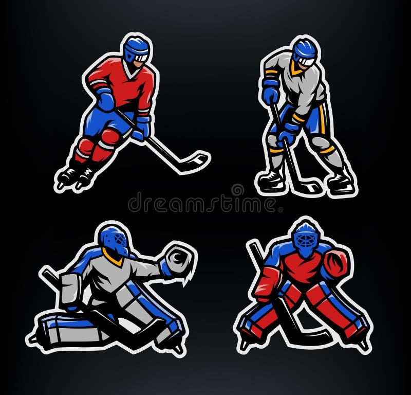 Gracz w hokeja i bramkarzi ustawiający ilustracja wektor