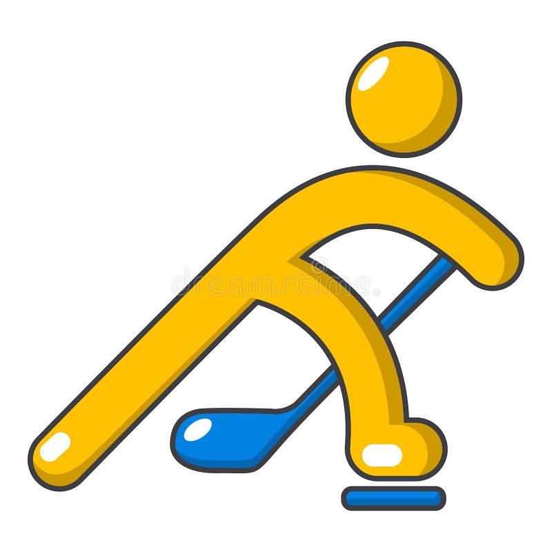 Gracz w hokeja ikona, kreskówka styl ilustracja wektor
