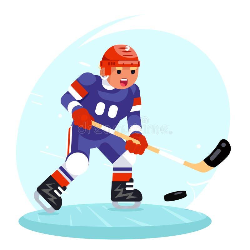 Gracz w hokeja kija krążka hokojowego lodowych łyżew projekta wektoru płaska ilustracja ilustracji