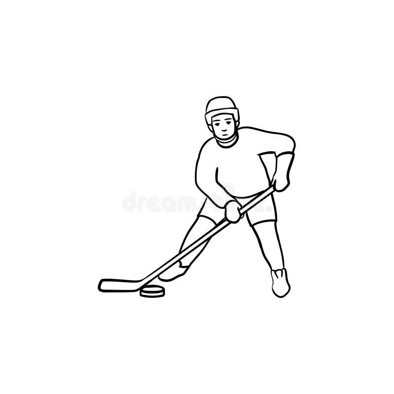 Gracz w hokeja konturu doodle ręka rysująca ikona royalty ilustracja