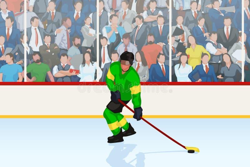 Gracz w hokeja w lodowisku ilustracja wektor