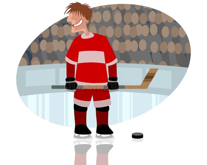 Gracz w hokeja na lodowisku ilustracji