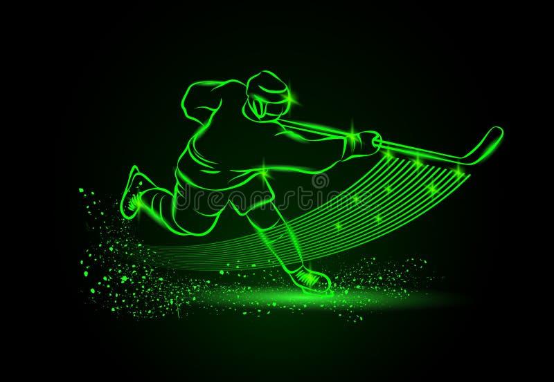Gracz w hokeja, Neonowy sporta tło royalty ilustracja