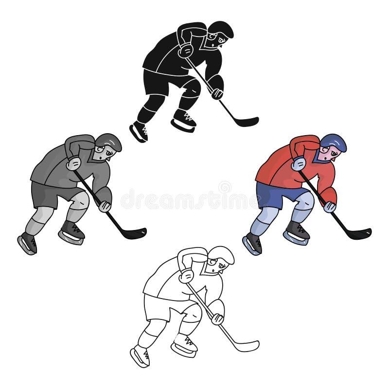Gracz w hokeja w pełnej przekładni z kijem bawić się hokeja Zima Olimpijski sport Olimpijscy sporty przerzedżą ikonę w kreskówka  ilustracji