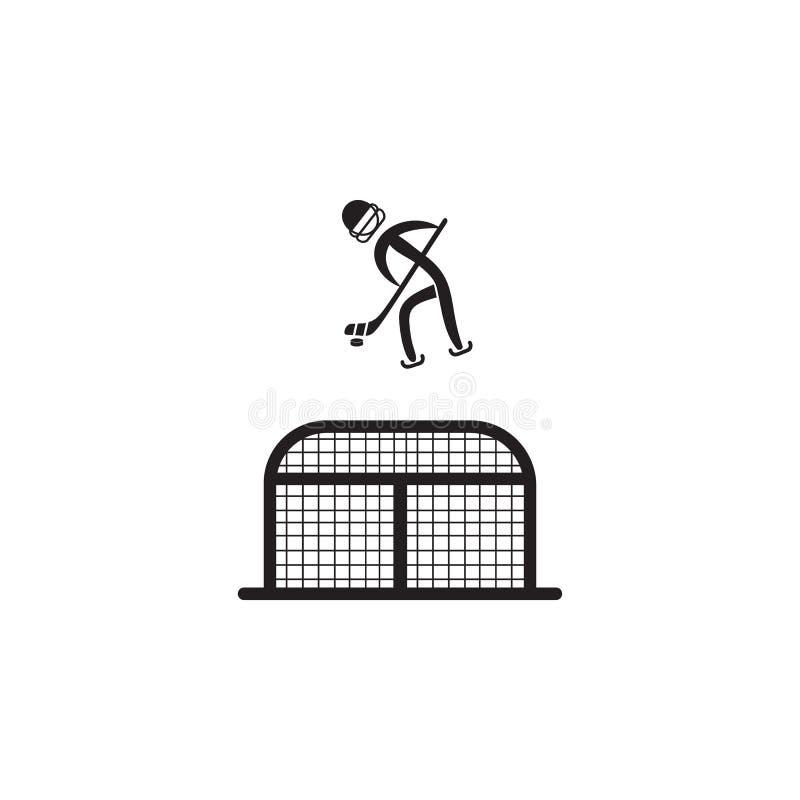 gracz w hokeja przed bramy ikoną Element postacie sportowiec ikona Premii ilości graficznego projekta ikona Znaki, symbole ilustracja wektor