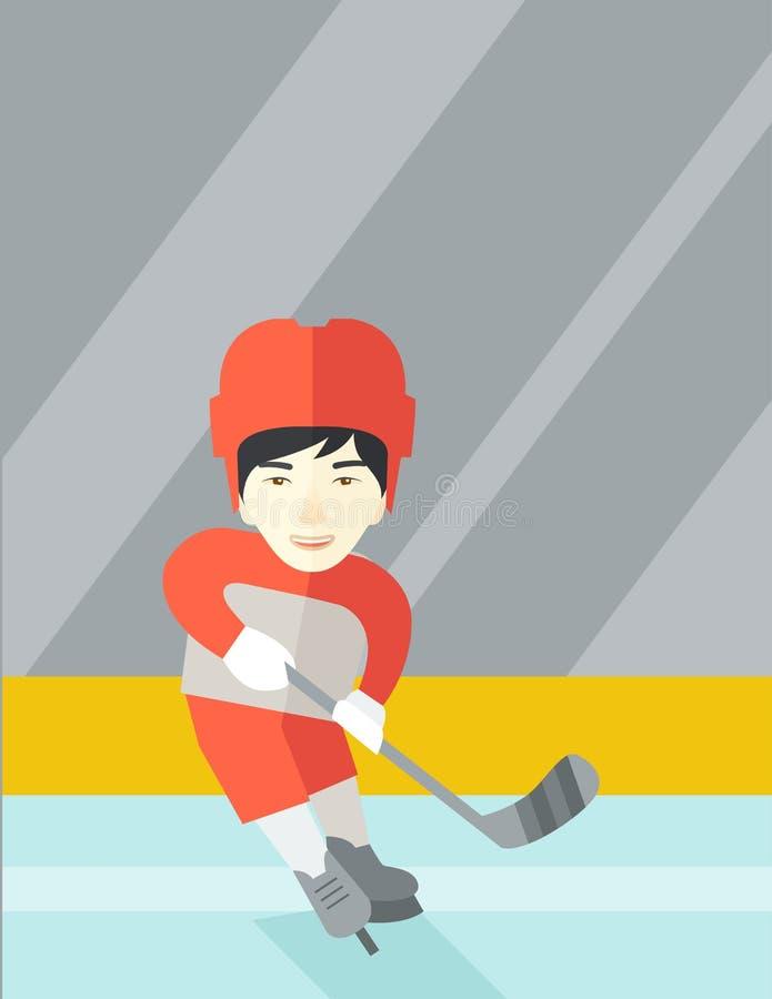 Gracz w hokeja przy lodowiskiem ilustracji