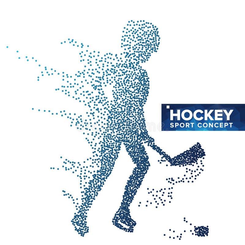 Gracz W Hokeja sylwetki wektor Grunge halftone kropki Dynamiczna Lodowego hokeja atleta W akci Sporta sztandar, gra royalty ilustracja