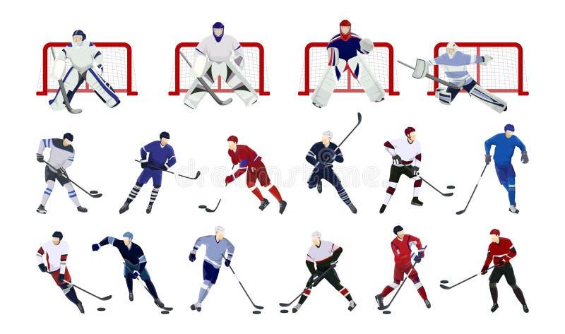 Gracz w hokeja ustawiający ilustracja wektor