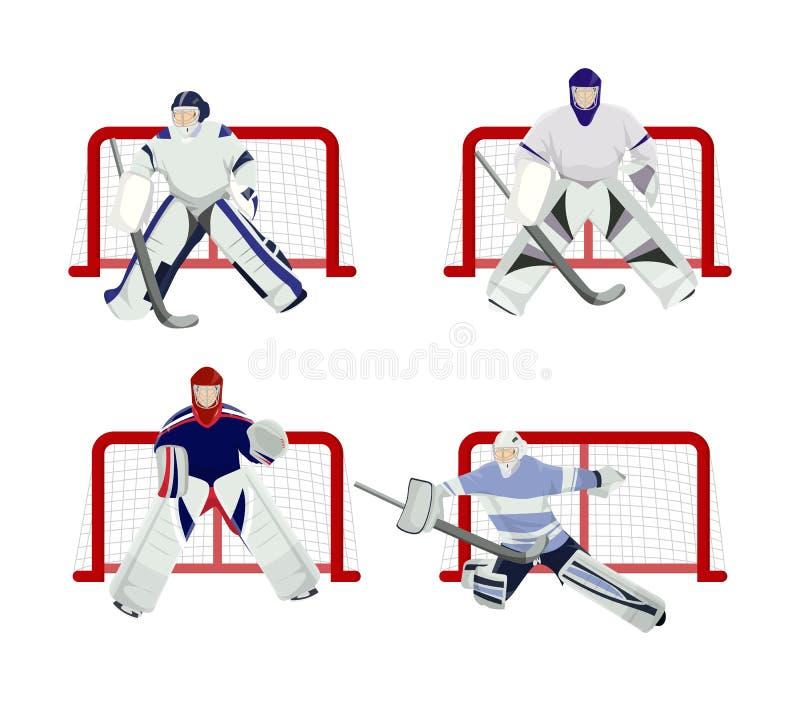 Gracz w hokeja ustawiający royalty ilustracja