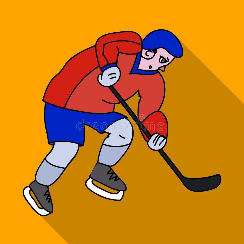 Gracz w hokeja w pełnej przekładni z kijem bawić się hokeja Zima Olimpijski sport Olimpijscy sporty przerzedżą ikonę w mieszkanie ilustracji
