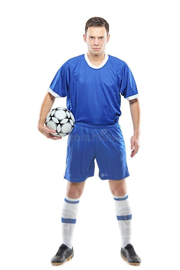 gracz w piłkę gniewna piłka nożna fotografia stock