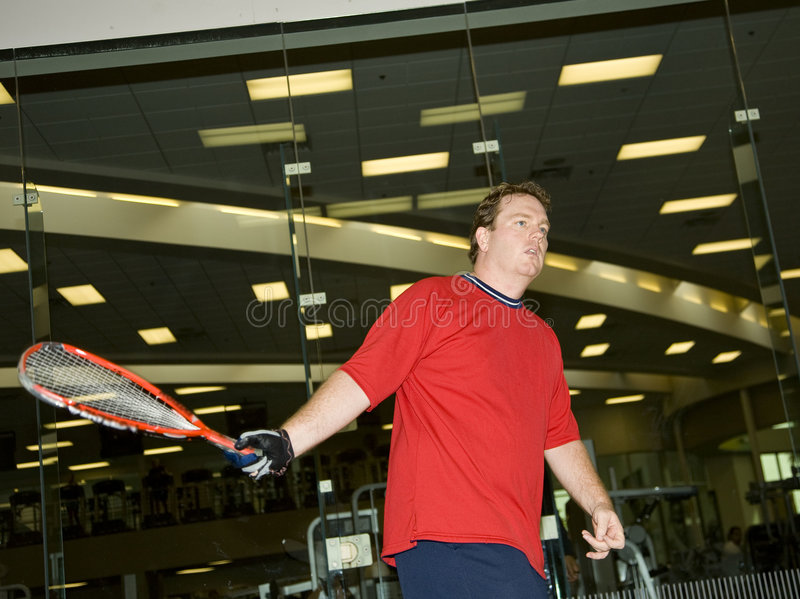gracz w piłkę racquet kabaczek fotografia stock