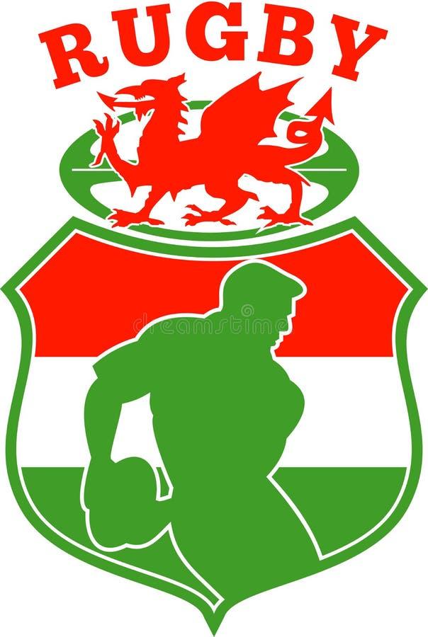 gracz w piłkę rugby Wales Welsh ilustracja wektor