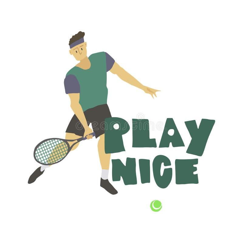 Gracz w tenisa chłopiec mężczyzna z kant sztuki ładnym freehand tekstem royalty ilustracja