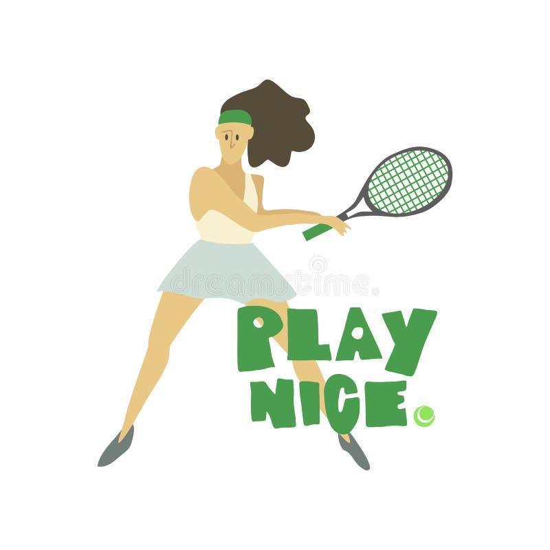 Gracz w tenisa dziewczyny kobieta z kant sztuki ładnym freehand tekstem ilustracja wektor
