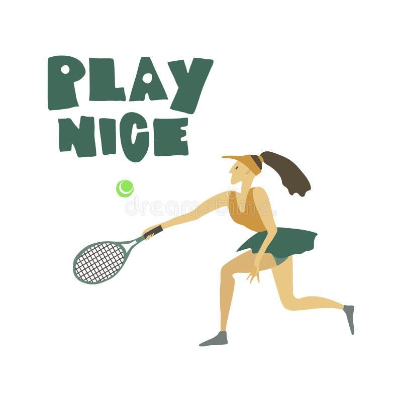 Gracz w tenisa dziewczyny kobieta z kanta i balowego Freehand teksta Ładną sztuką royalty ilustracja