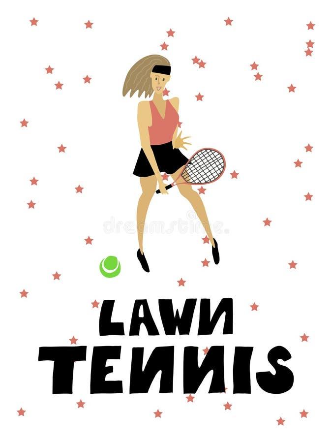 Gracz w tenisa dziewczyny kobieta z kantem i balow? Freehand wektorow? ilustracj? ilustracja wektor