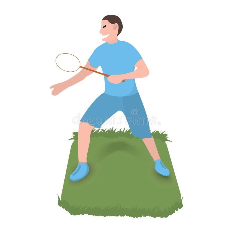 Gracz w tenisa ikona Sport etykietka na białym tle Charakter kresk?wki styl r?wnie? zwr?ci? corel ilustracji wektora ilustracja wektor