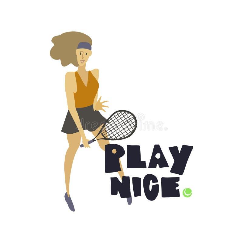 Gracz w tenisa Kobieta z kantem i pi?k? royalty ilustracja