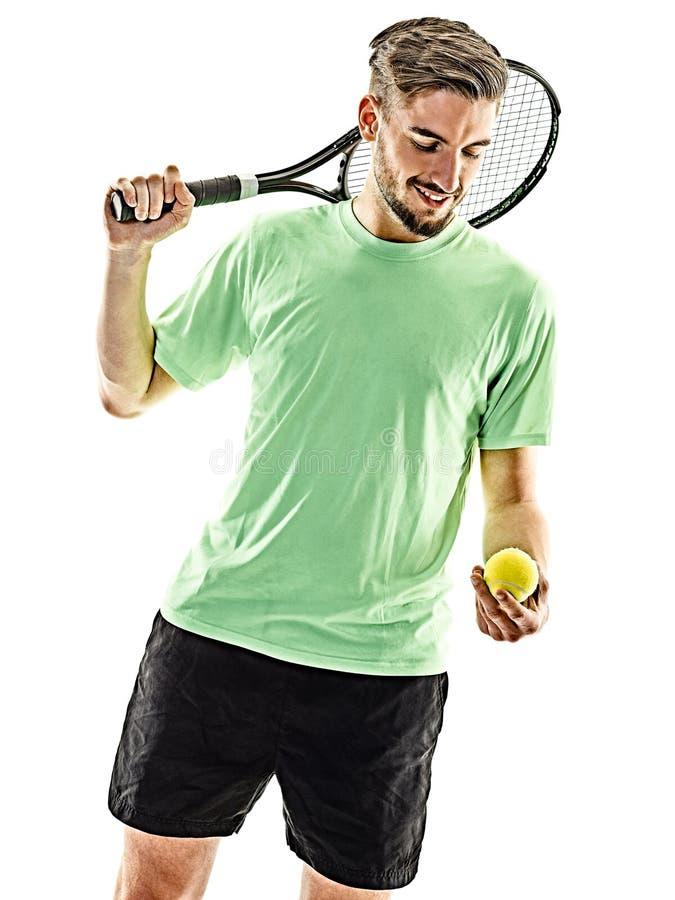 Gracz w tenisa mężczyzna odizolowywający zdjęcia stock