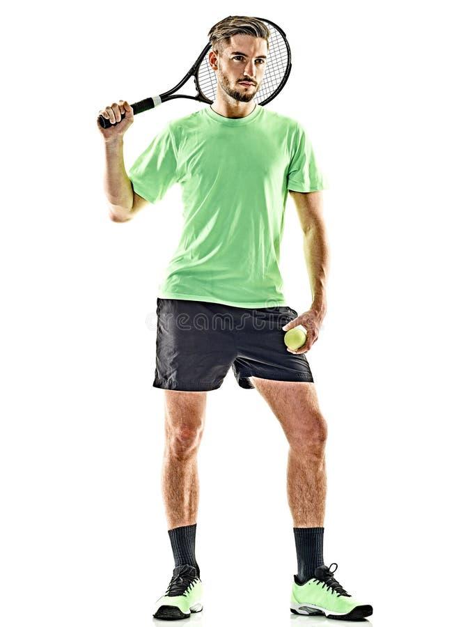 Gracz w tenisa mężczyzna odizolowywający zdjęcie stock