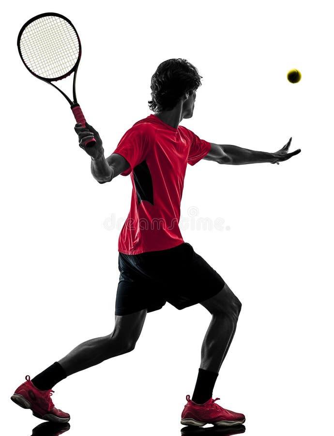 Gracz w tenisa mężczyzna sylwetki odosobniony biały tło zdjęcie stock