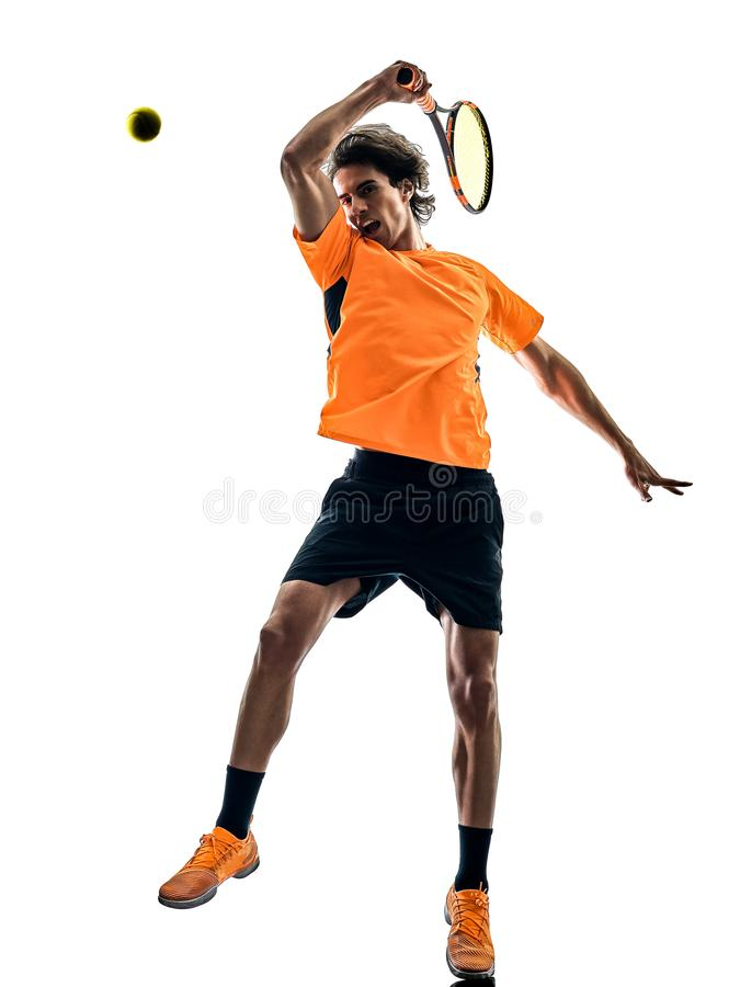 Gracz w tenisa m??czyzna sylwetki odosobniony bia?y t?o obrazy stock