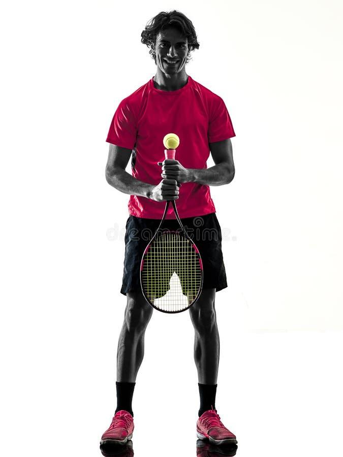 Gracz w tenisa m??czyzna sylwetki odosobniony bia?y t?o zdjęcie royalty free