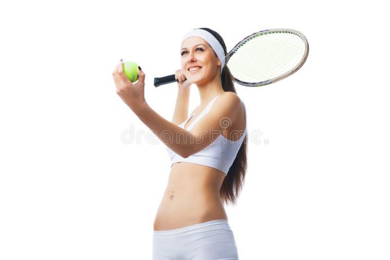 Gracz w tenisa narządzanie słuzyć obrazy stock