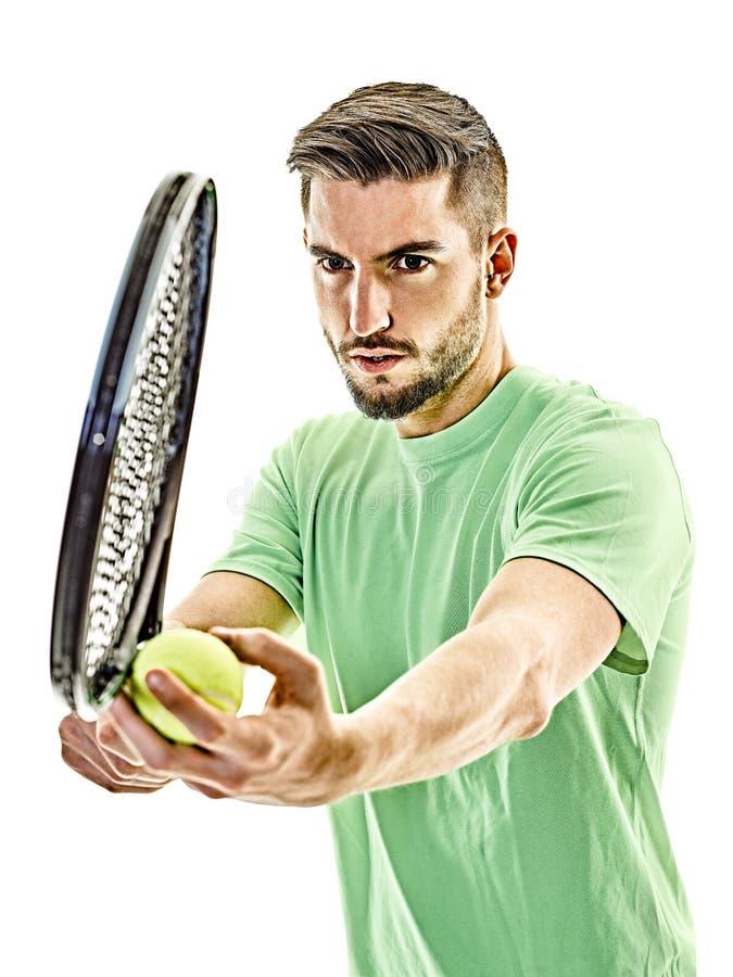 Gracz w tenisa porci usługowy mężczyzna odizolowywający zdjęcia stock