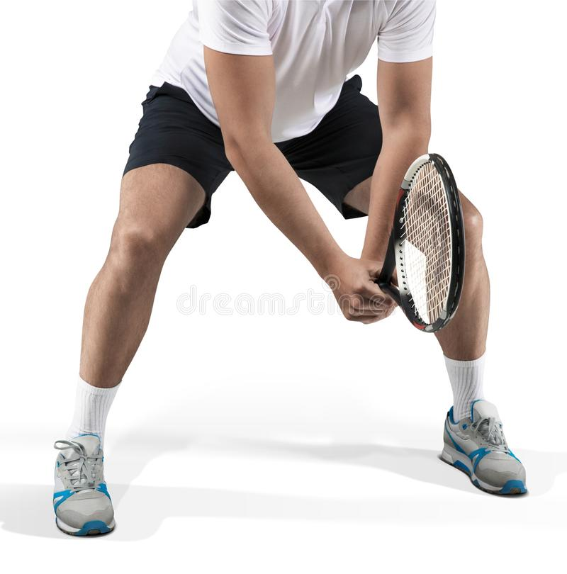 Gracz w tenisa pozycja w gotowej pozycji w górę zdjęcie royalty free