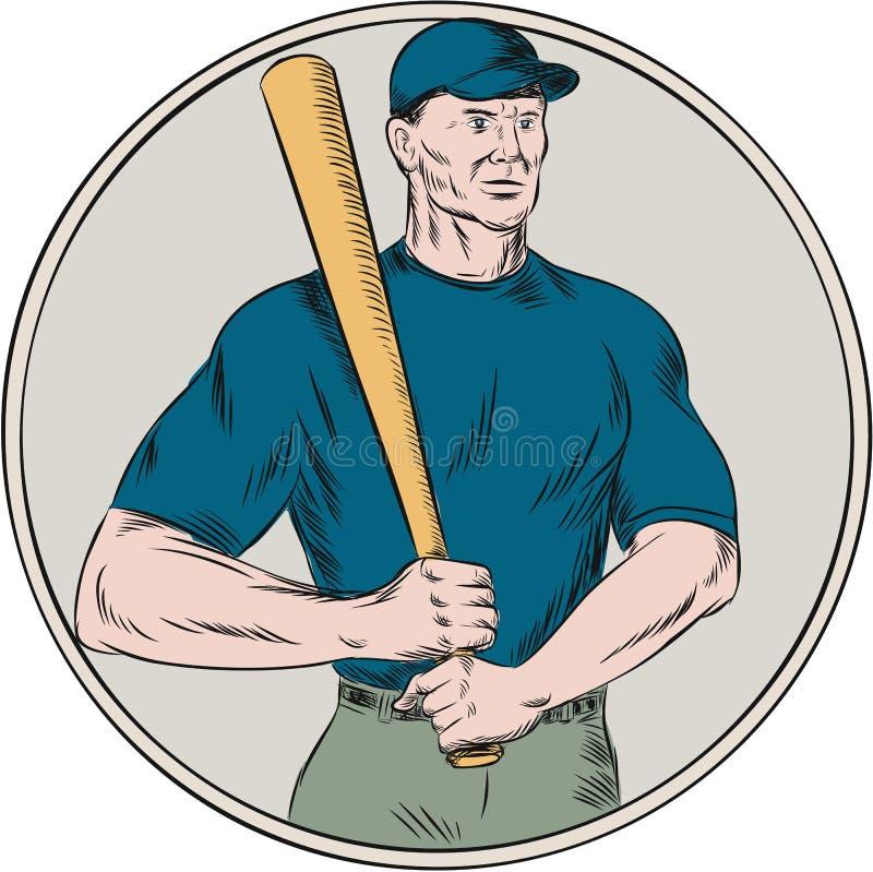 Gracza Baseballa ciasta naleśnikowego mienia nietoperza akwaforta royalty ilustracja