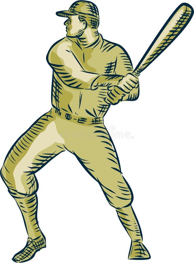 Gracza Baseballa ciasta naleśnikowego uderzenia kijem nietoperza akwaforta royalty ilustracja